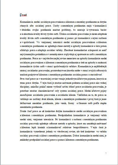 Bakalárska práca – komunikácia